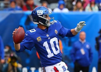 Eli Manning with the ball